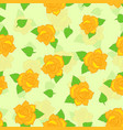yellow rose with green leaf seamless pattern vector image vector image
