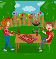 young people cooking and eating bbq while sitting vector image vector image