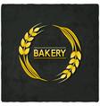 golden wheat bakery symbol black background vector image
