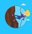 woman climbing in mountains with rope vector image
