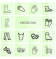 14 protective icons vector image vector image