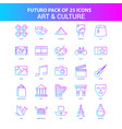 25 blue and pink futuro art and culture icon pack vector image