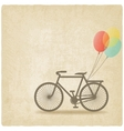 bike with balloons old background vector image vector image