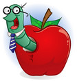 book worm in apple cartoon character vector image