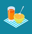 bulgur porridge and fruit juice breakfast healthy vector image vector image