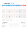 calendar planner for january 2018 vector image vector image