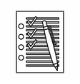 Check list with ticks and pen icon outline style vector image