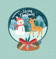 christmas card - toy ball with a snowman and a dee vector image vector image