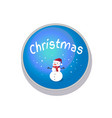 christmas snowman in button vector image