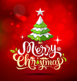 Christmas tree greeting card lettering on red vector image vector image