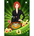 Confident lucky girl spins roulette vector image
