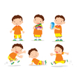 Cute boy cartoon many action vector image