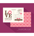 Cute Valentine LOVE postcard card design Template vector image vector image