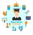education flat poster with colorful icons vector image vector image