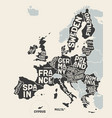 european union europe poster map european vector image
