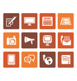 Flat Communication channels and Social Media icons vector image