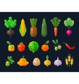 fresh fruits and vegetables set colored icons vector image vector image