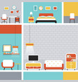 Furniture Flat Design Frame and Background vector image