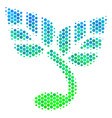 halftone blue-green sprout icon vector image vector image