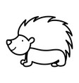 hedgehog fauna forest wildlife design icon thick vector image vector image