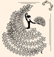 image of flamenco with fan vector image vector image