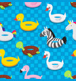 inflatable animal rubber toys in swimming pool vector image vector image