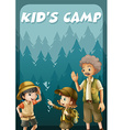 Kid going camping in the forest vector image vector image
