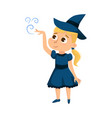 little witch practicing witchcraft cute blonde vector image