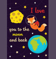 love card with fox in space vector image vector image