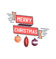 merry christmas emblem design with xmas balls toys vector image