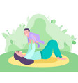 mother holding little child lying on lawn vector image vector image