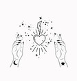 mystical woman hands alchemy esoteric magic space vector image vector image