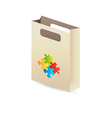 paper bag with puzzle symbols vector image vector image