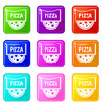 pizza badge or signboard set 9 vector image vector image