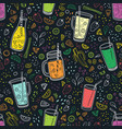 seamless pattern with delicious vegan drinks vector image vector image