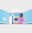 senior doctor and nurse medical team discussing in vector image