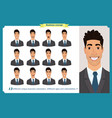 set male facial emotions business man vector image vector image