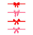 set of decorative red bows vector image vector image