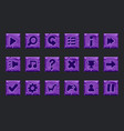set of purple stone buttons for web or game vector image vector image