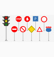 set road signs and traffic light vector image