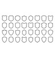 shield safety defense protect line icon set vector image