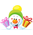 snowman holding gift peep out through the blank vector image vector image