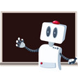 teacher robot in front a blackboard cartoon vector image