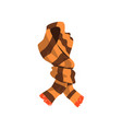 twisted striped scarf in brown color with orange vector image vector image