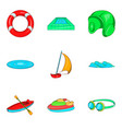 water coach icons set cartoon style vector image vector image
