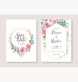 wedding invitation card and save date template vector image vector image