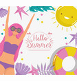 woman hello summer holiday design vector image vector image