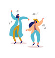 young man and woman friends dancing to party music vector image