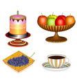 Coffee with cake and fruit 3D vector image