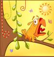 Little yellow birdie cartoon vector image